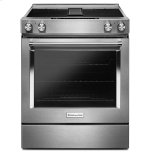 Kitchenaid30'' Slide-in Electric Range, 4 Radiant Elements, 6.4 Cu. Ft. Oven Capacity, Built-in Downdraft Ventilation, Even-Heat True Convection, Steam Rack, Aqualift, Glass Touch Controls - Stainless Steel