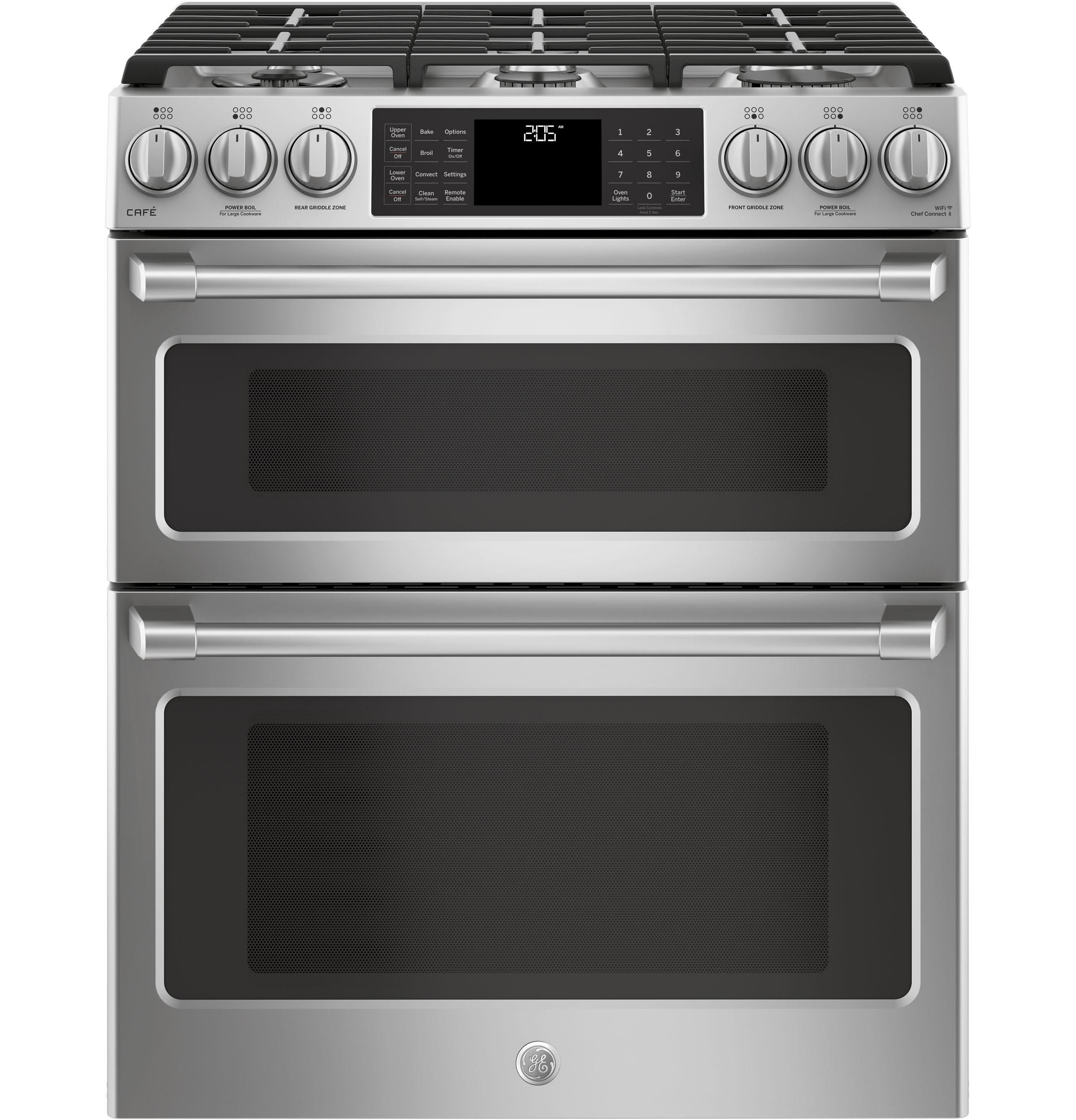 """GE Cafe(TM) Series 30"""" Slide-In Front Control Dual-Fuel Double Oven with Convection Range  Stainless Steel"""