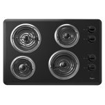 Whirlpool30'' Electric Cooktop, 4 Coil Heating Elements, Infinite-Heat Controls, Chrome Drip Bowls - Black