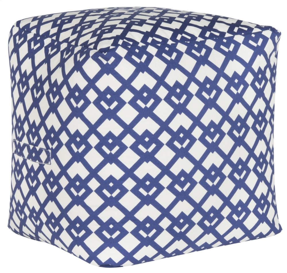 Venetian Pouf - Blue And White Diamond Link