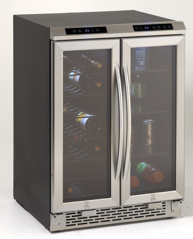 Side-by-Side Dual Zone Wine/Beverage Cooler  Black Cabinet with Glass Door and Stainless Finish Frame