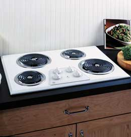 """30"""" Built In Electric Cooktop  White on White"""