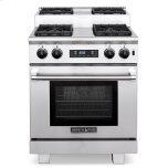 American Range�Multiple functions include: Standard Bake, Innovection® Convection Bake, Infrared Broil and Fan mode �Innovection® System with convection fan optimizes uniform air flow �Two chrome racks glide at 6 cooking levels on heavy chrome side supports �Front pa