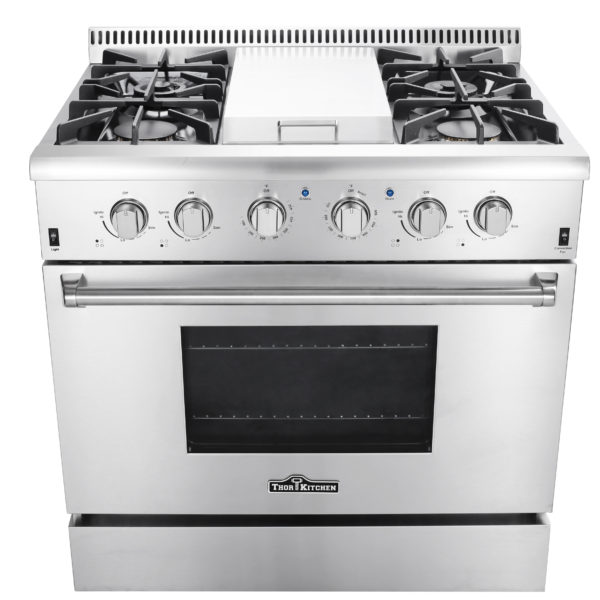 "HRG3617U 36"" Professional Steel Gas Range with Griddle"