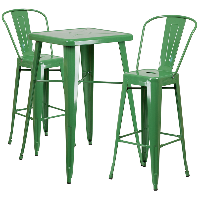 23.75'' Square Green Metal Indoor-Outdoor Bar Table Set with 2 Stools with Backs