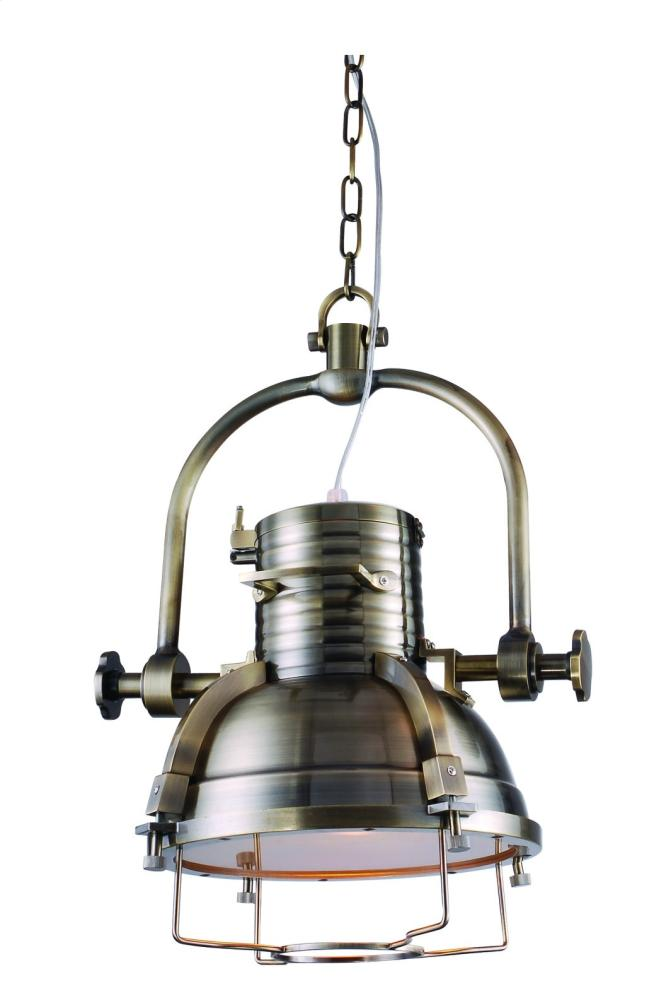 "Industrial Collection Chandelier D:19"" H:18"" Lt:1 Antique Brass Finish"