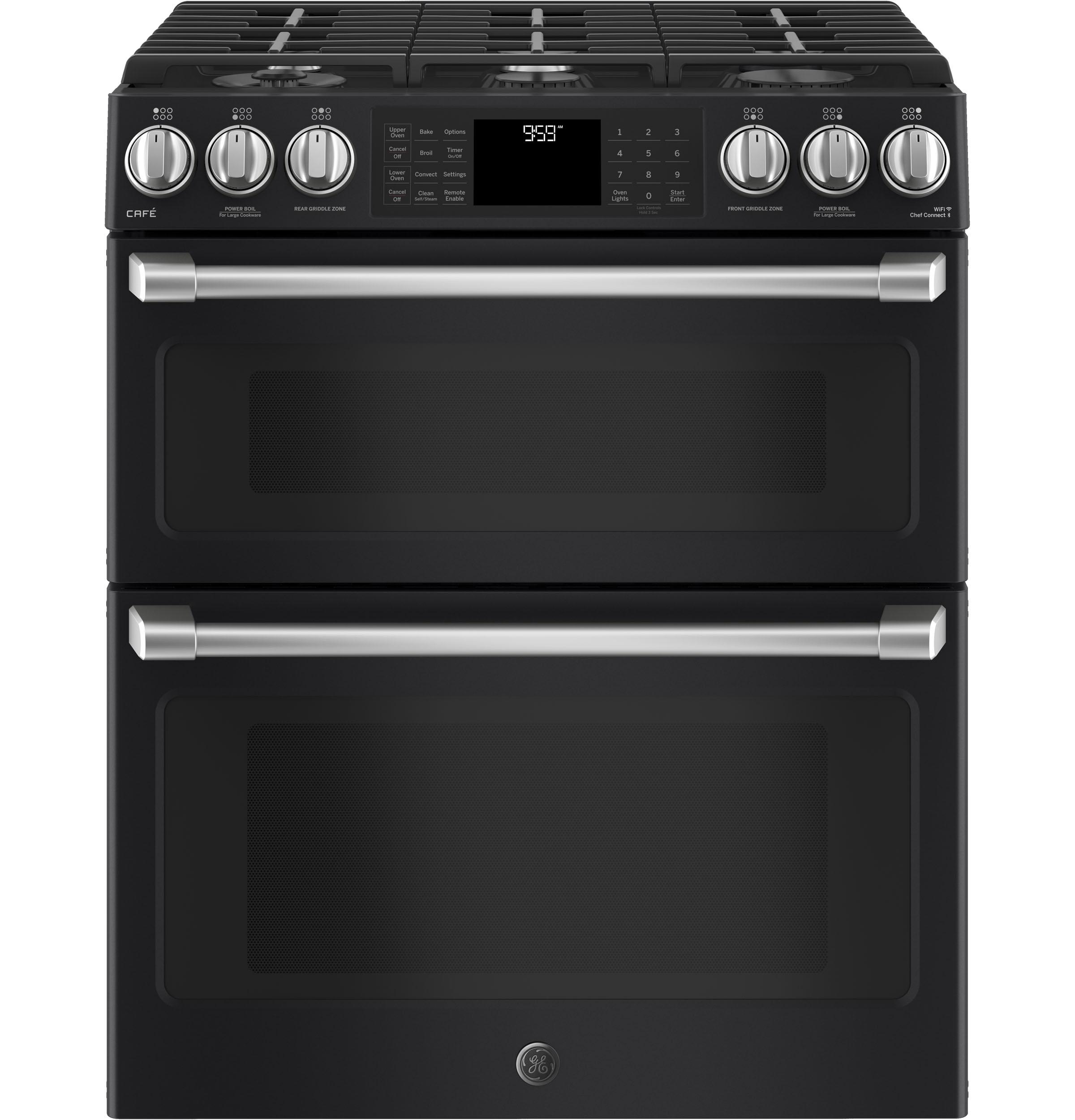 """GE Cafe(TM) Series 30"""" Slide-In Front Control Gas Double Oven with Convection Range  Black Slate"""
