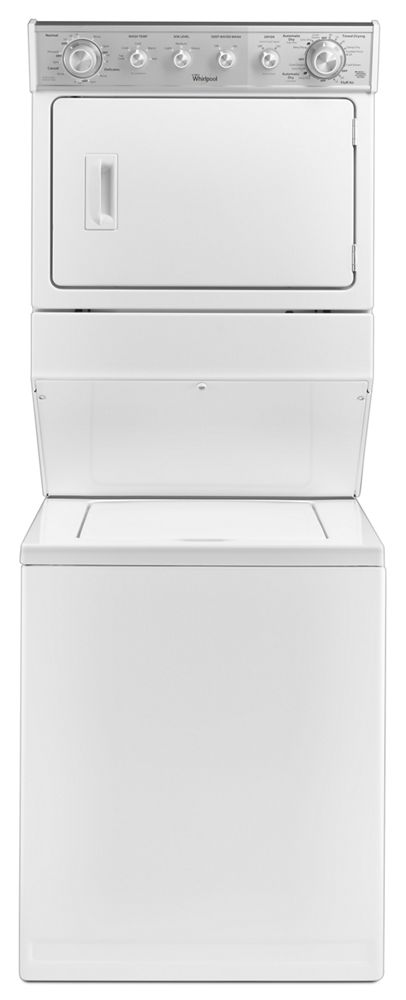 2.5 Stacked Laundry Center with Gas Dryer and HE Agitator with Fabric Softener Cap