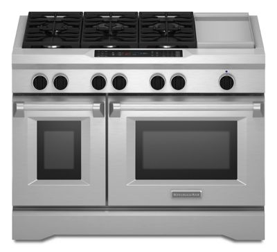 48'' 6-Burner with Griddle, Dual Fuel Freestanding Range, Commercial-Style - Stainless Steel  Stainless Steel