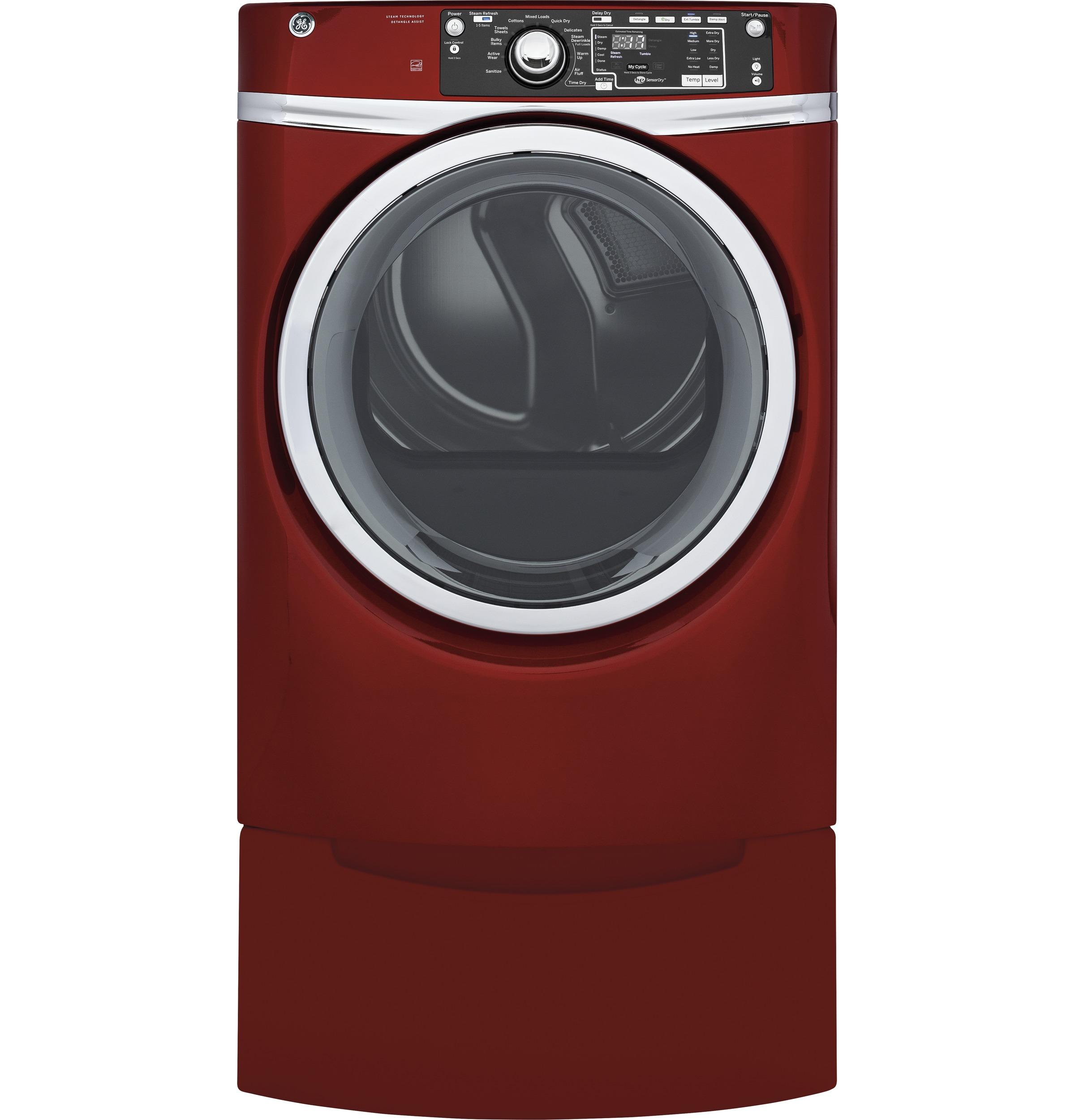 GE(R) 8.3 cu. ft. capacity Front Load gas ENERGY STAR(R) dryer with steam  Ruby Red