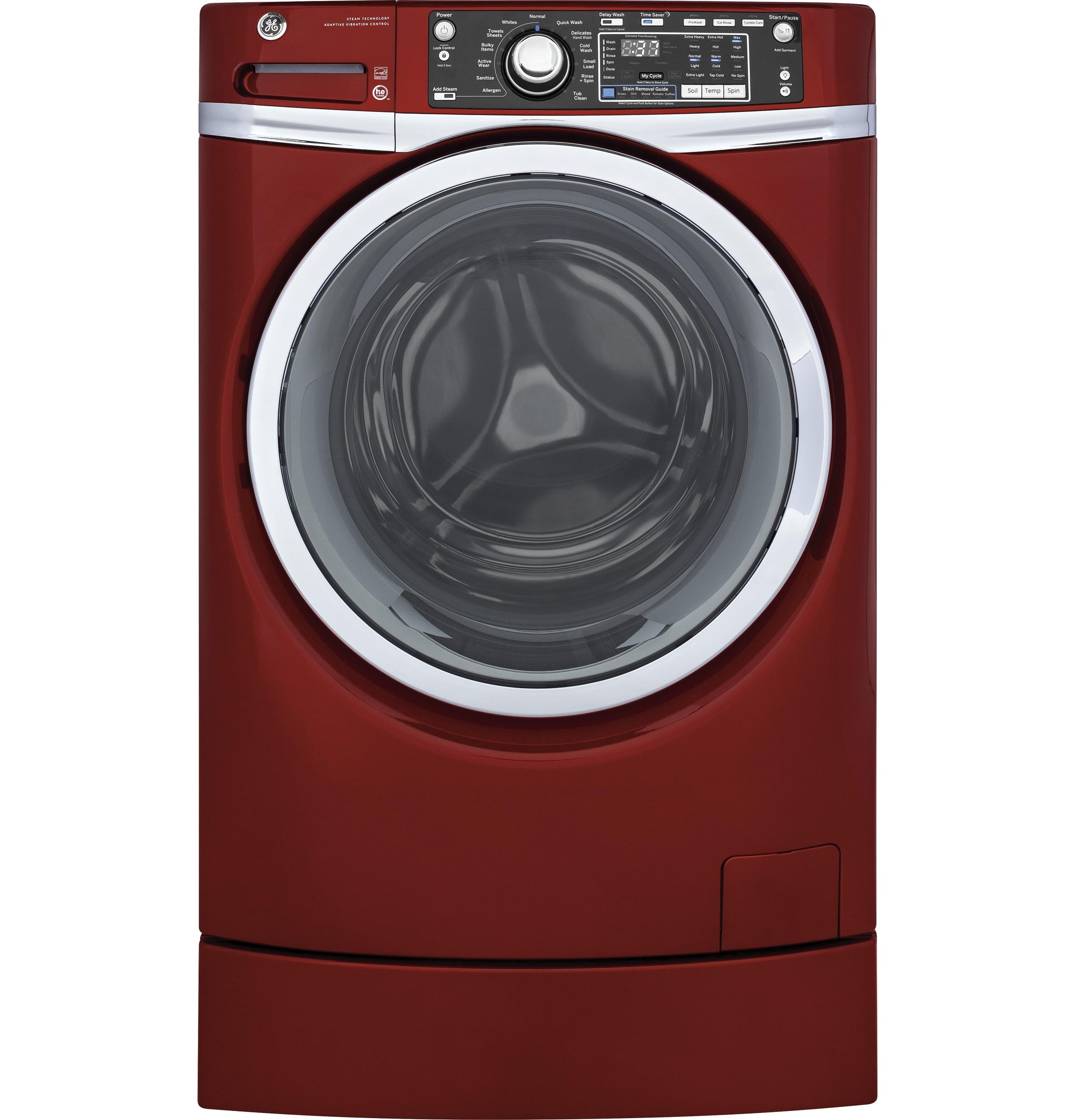 GE(R) ENERGY STAR(R) 4.9 DOE cu. ft. capacity RightHeight(TM) Design Front Load washer with steam