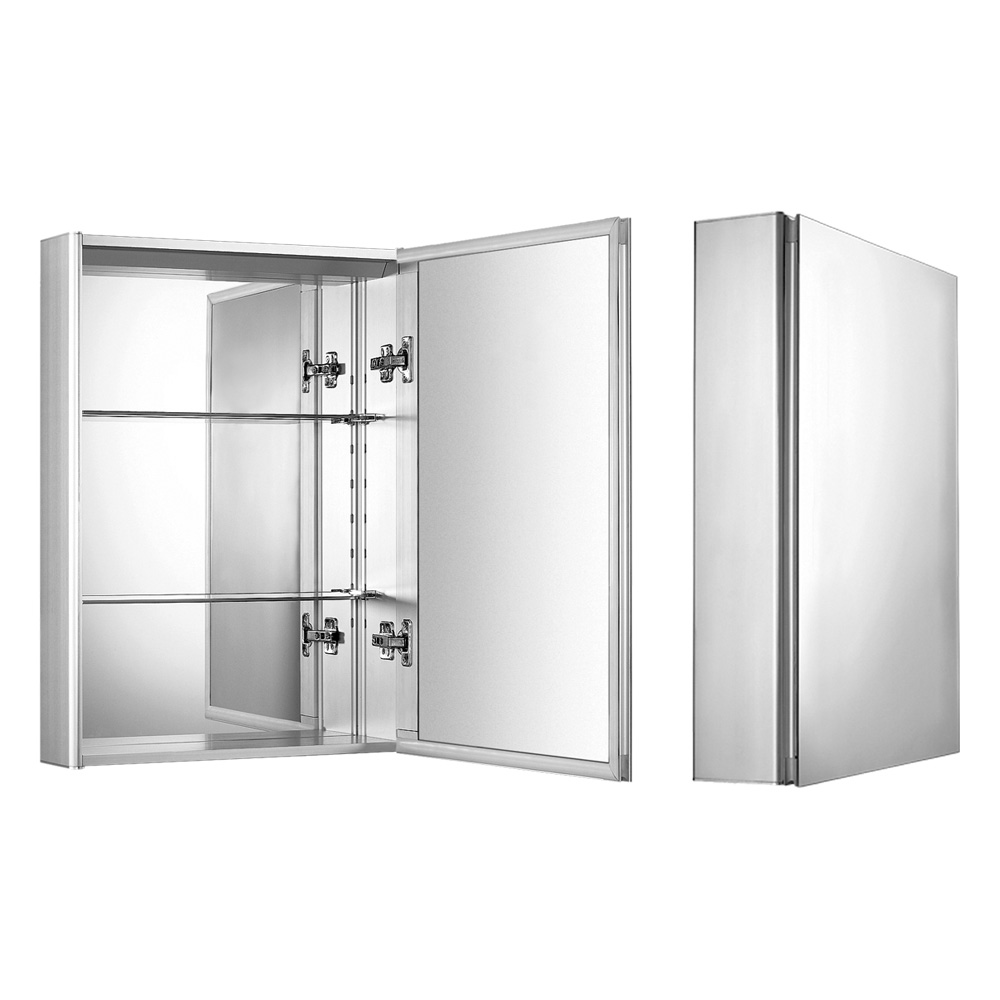 Medicinehaus single door anodized aluminum cabinet.