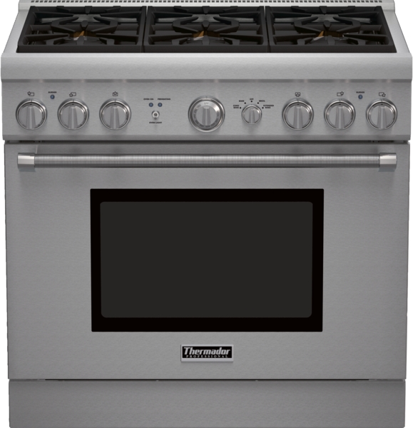 thermador36 inch series pro harmony standard depth all gas range prg366gh