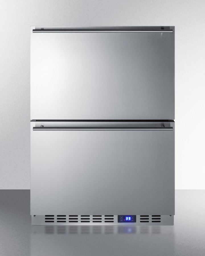 Two-drawer Refrigerator In Complete Stainless Steel for Built-in or Freestanding Use