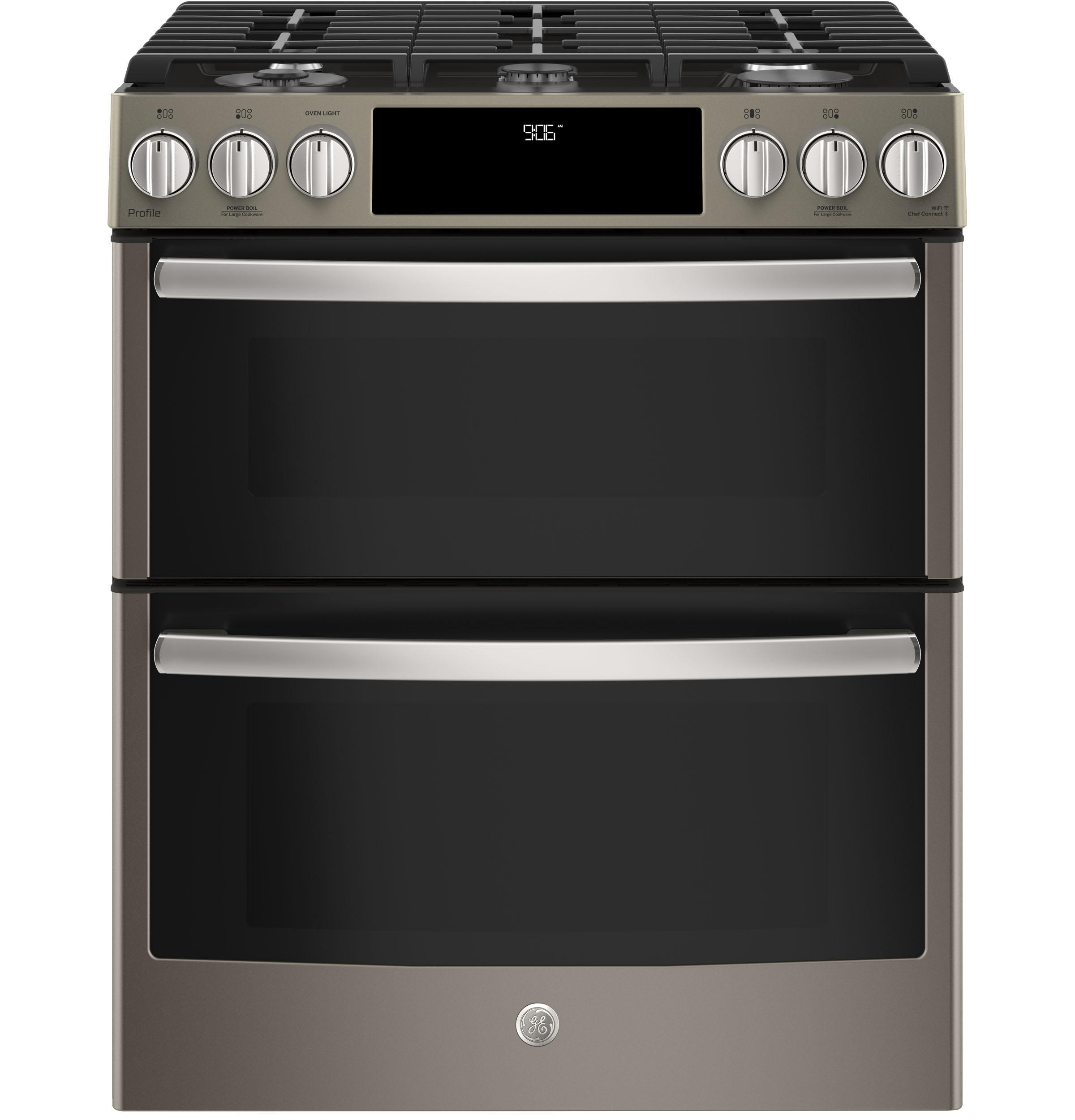 """GE Profile(TM) Series 30"""" Slide-In Front Control Gas Double Oven Convection Range  Slate"""
