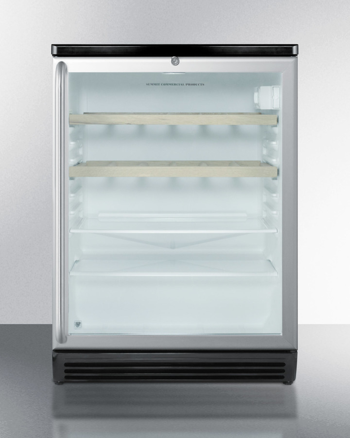 Commercially Listed Counter Height Beverage Center With Black Cabinet, Glass Door, Full-length Ss Handle, Glass and Wooden Shelves, and Lock