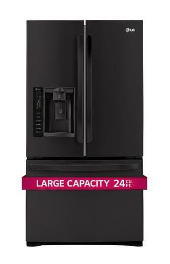 Ultra-Large Capacity 3 Door French Door Refrigerator with Smart Cooling  Smooth Black