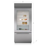 "Sub Zero 36"" Classic Over-And-Under Refrigerator/freezer With Glass Door"