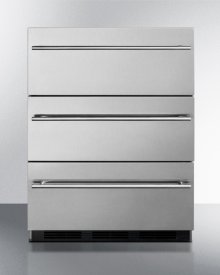 Commercially Approved Three-drawer Refrigerator In Stainless Steel for Built-in Undercounter Use, With Thin Handles