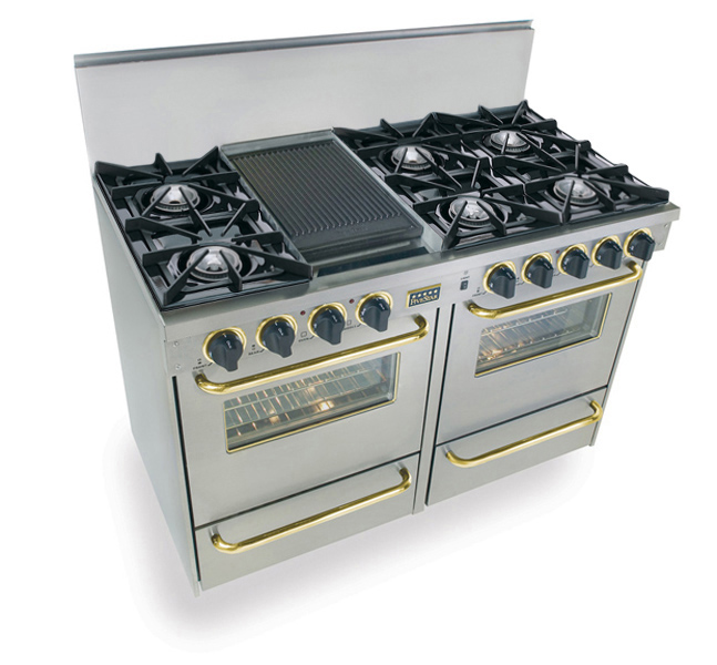 """48"""" All Gas Range, Open Burners, Stainless Steel with Brass Trim  Stainless Steel"""