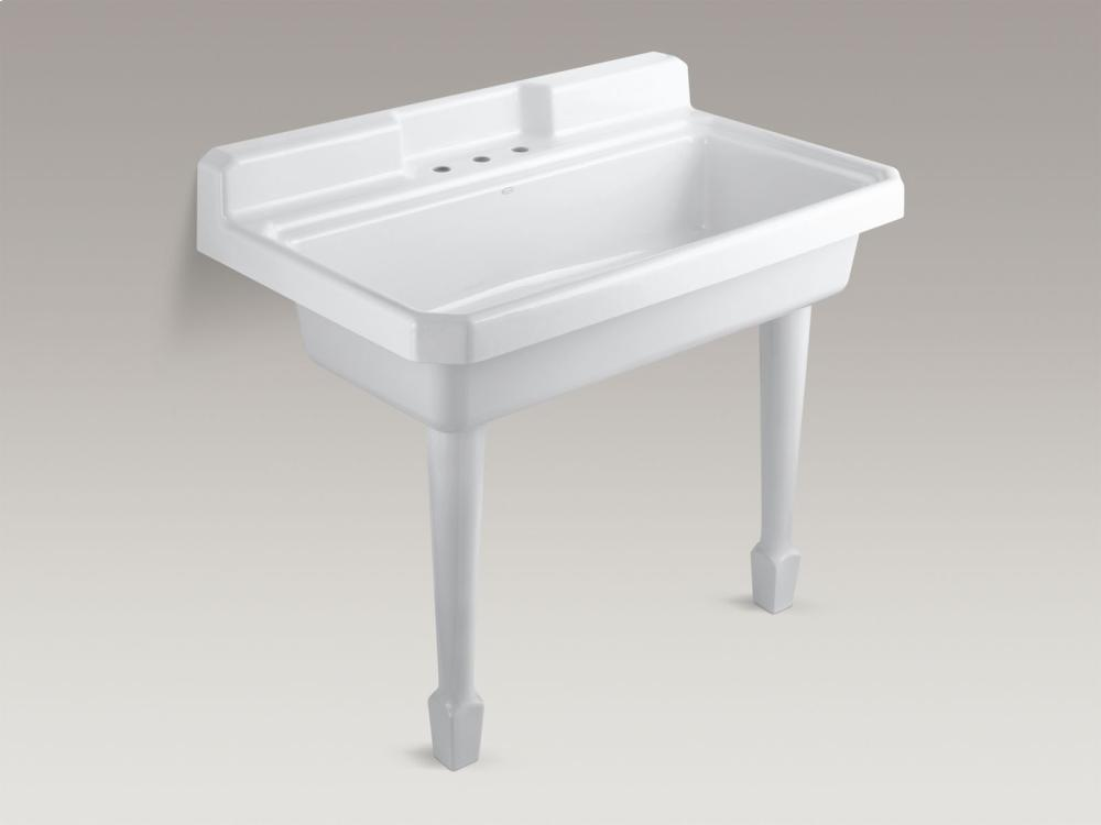 hidden additional white topmount or wallmount utility sink with 3 faucet holes on