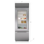 "Sub Zero 30"" Classic Over-And-Under Refrigerator/freezer With Glass Door"