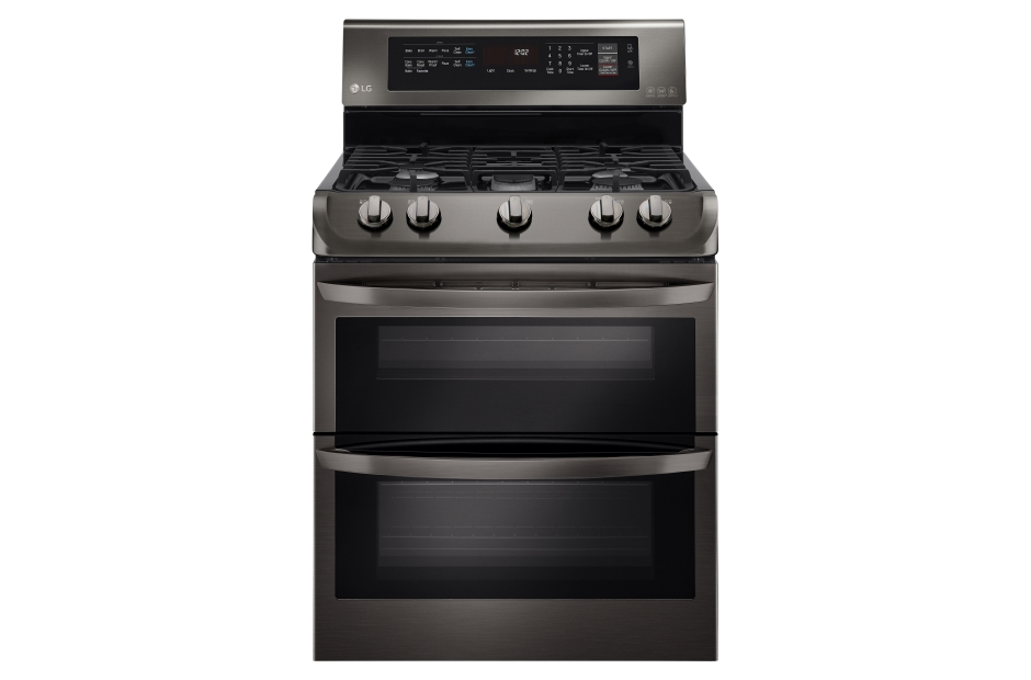 LG Black Stainless Steel Series 6.9 cu. ft. Gas Double Oven Range with ProBake Convection(R), EasyClean(R)