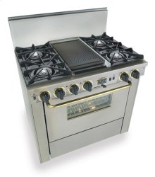 "36"" Dual Fuel, Convect, Self-Clean, Open Burners, Stainless Steel with Bras"
