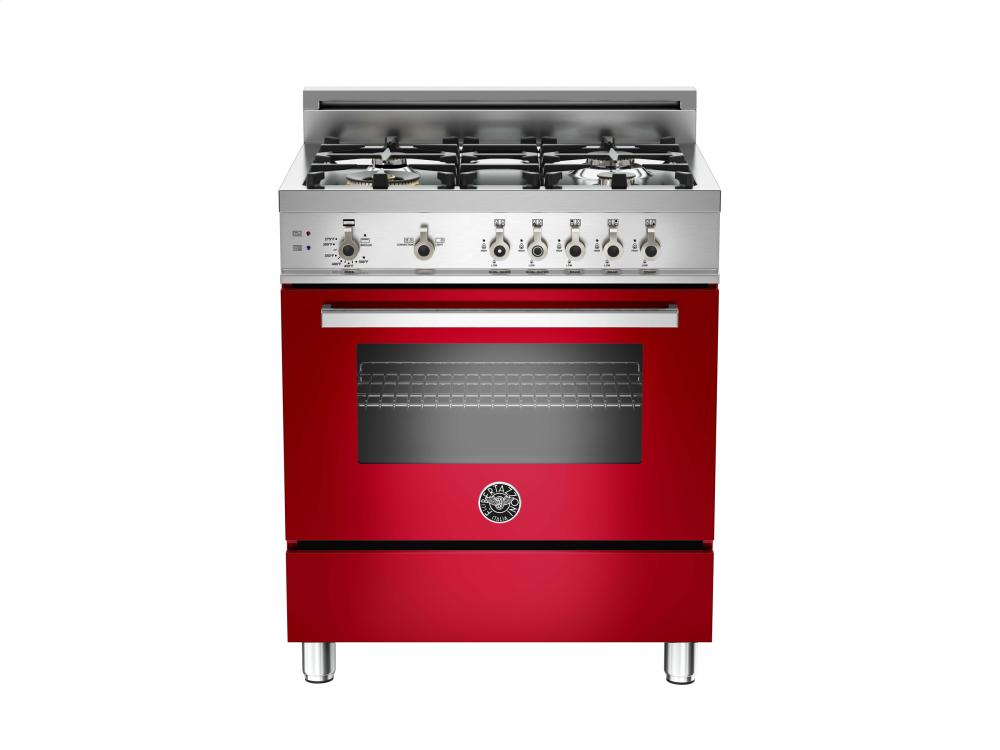 30 4-Burner, Gas Oven Red  Red