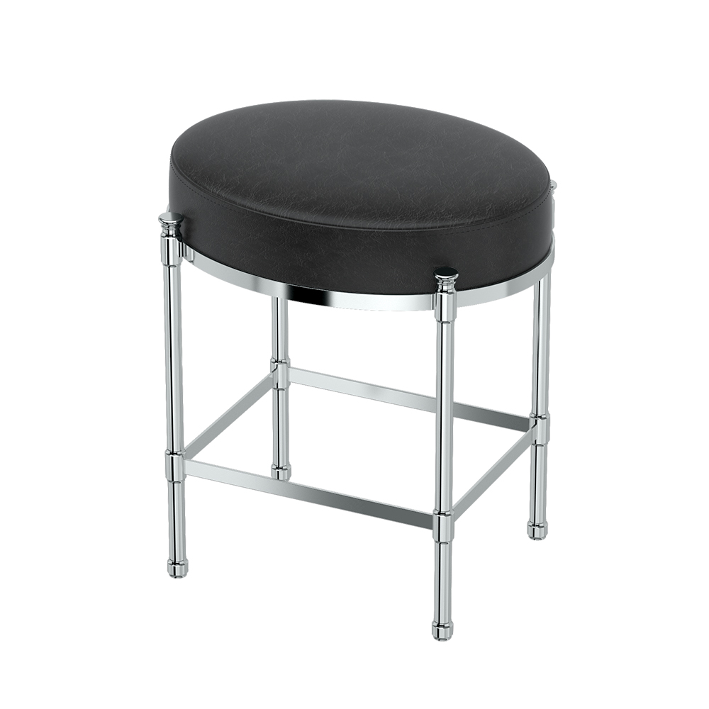 Oval Vanity Stool in Chrome