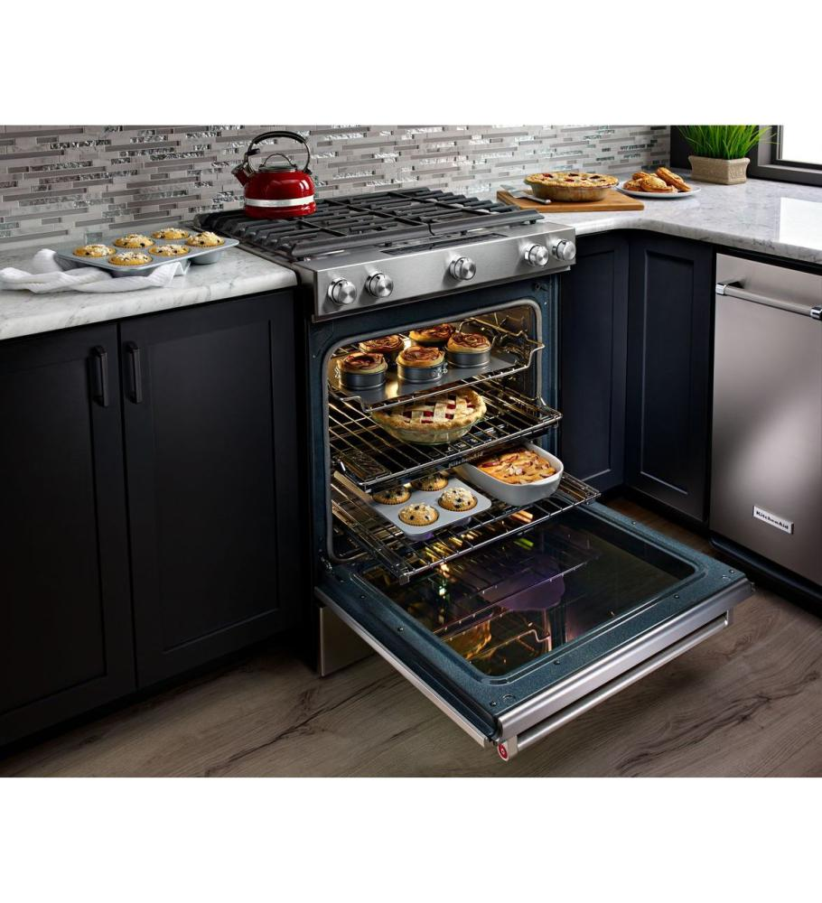 Hidden · Additional KitchenAid® 30 Inch 5 Burner Front Control Gas  Convection Range With Baking Drawer