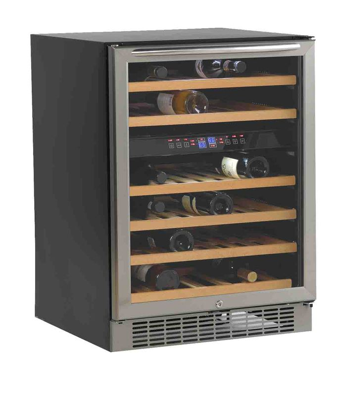 Built-In or Free Standing Dual Zone Wine Cooler  Black / Stainless Steel