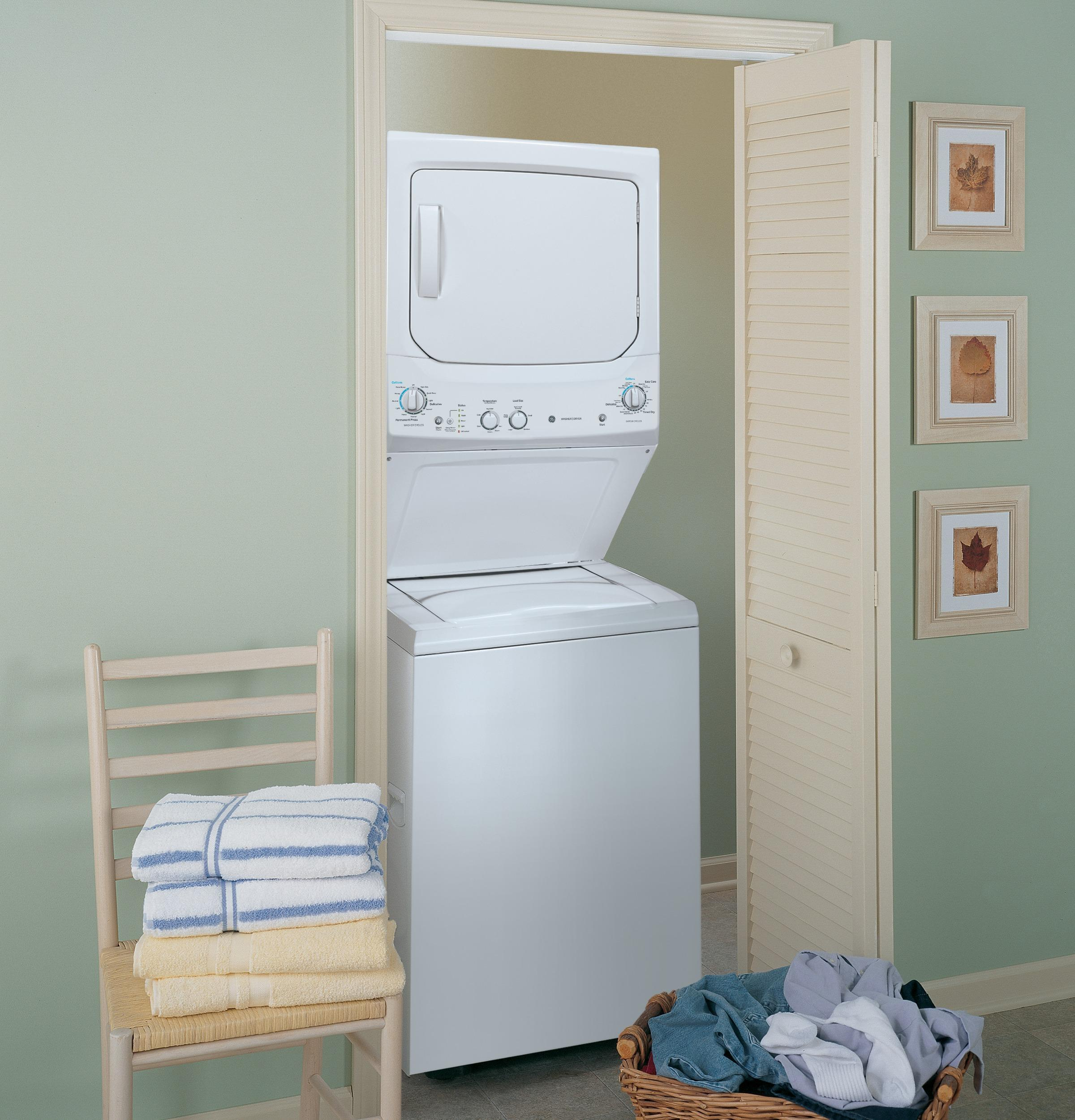 GE Unitized Spacemaker(R) 3.2 DOE cu. ft. Washer and 5.9 cu. ft. Gas Dryer  White on White