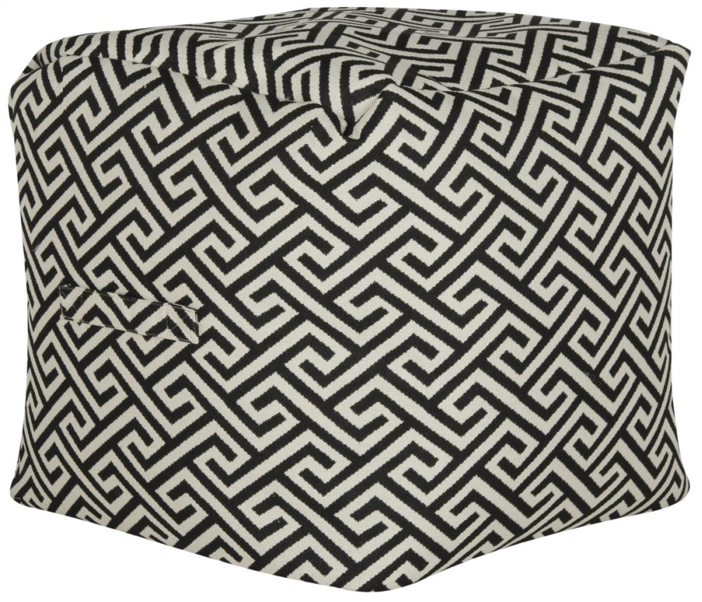 Valentina Fret Pouf - Black And White Maze