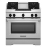 Kitchenaid36'' 4-Burner with Griddle, Dual Fuel Freestanding Range, Commercial-Style - Stainless Steel