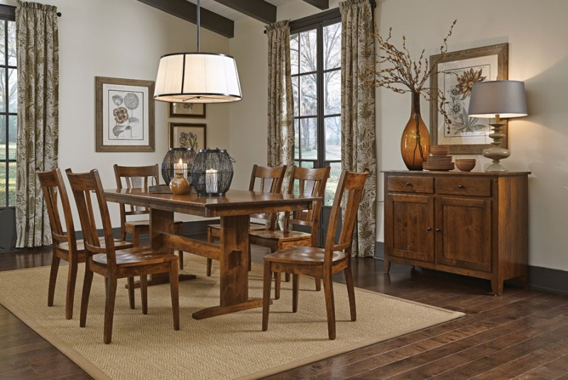 Hidden Additional Shenandoah Trestle II Table 36 X 72 With Solid Top SATE