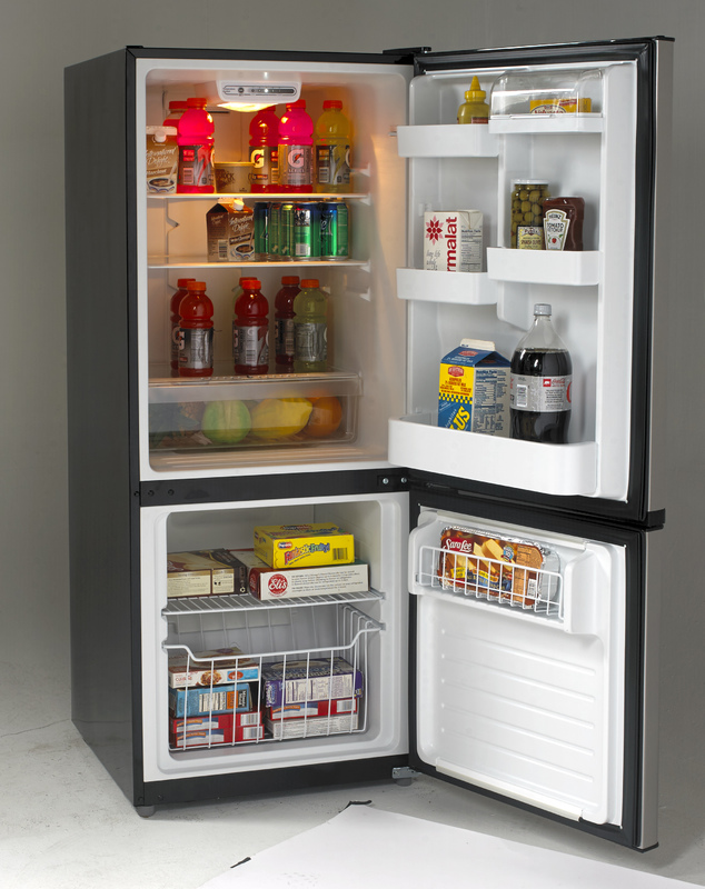 Bottom Mount Frost Free Freezer / Refrigerator  Black with Stainless Steel Doors