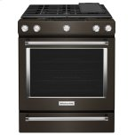Kitchenaid30-Inch 5-Burner Gas Slide-In Convection Range - Black Stainless