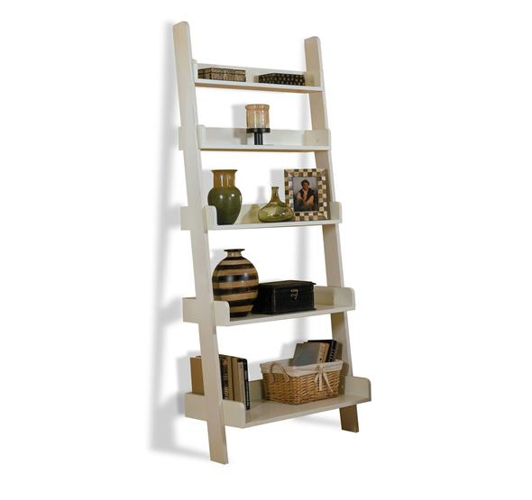 Leaning Bookcase White