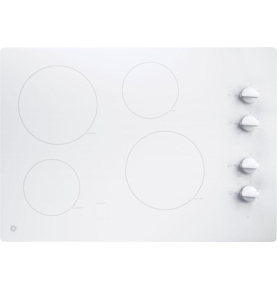 """GE(R) 30"""" Built-In Knob Control Electric Cooktop  True White"""