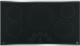 """36"""" GE Profile Electric Cooktop with Built-In Touch Control  Stainless Steel"""