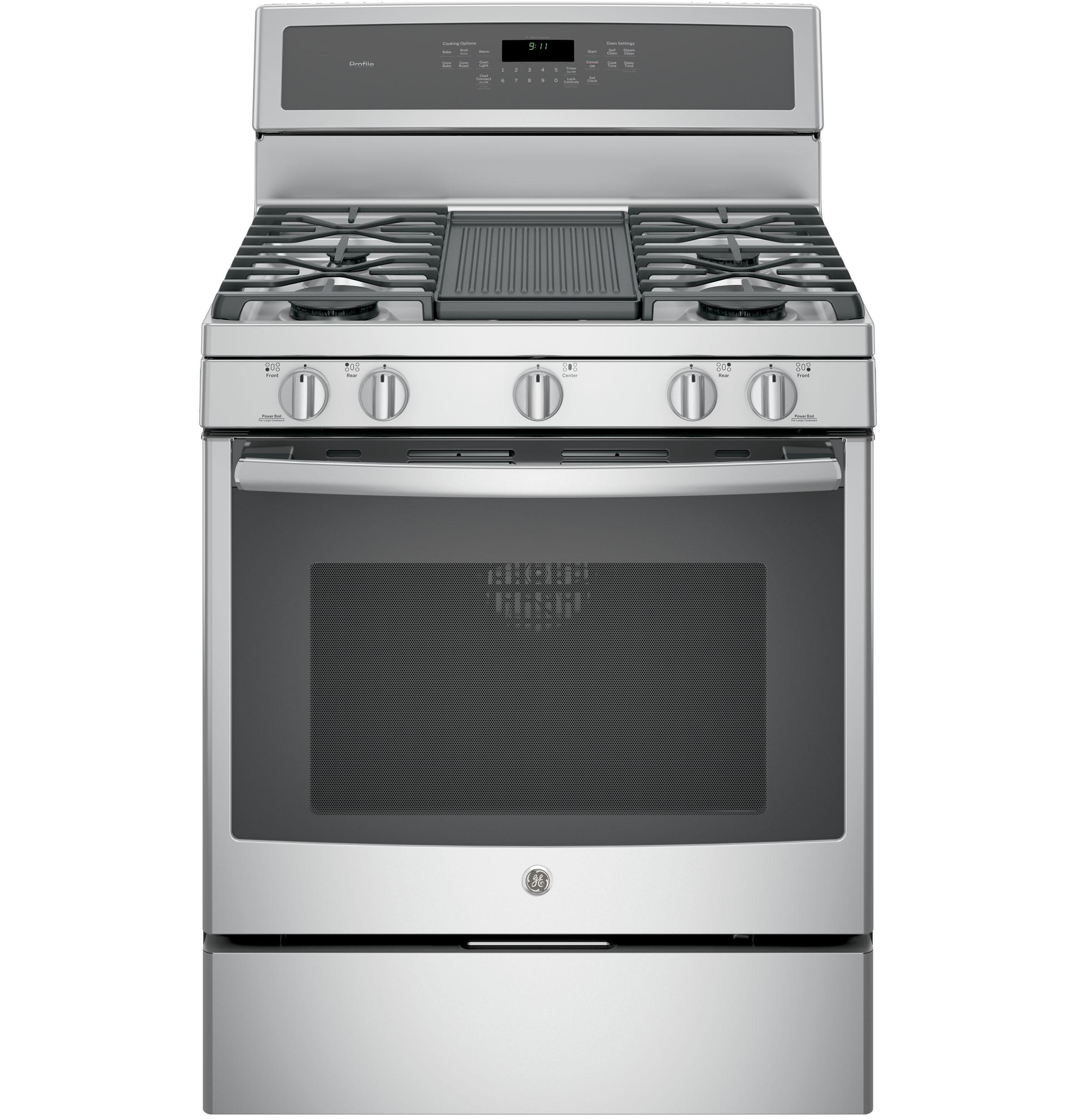 "GE Profile(TM) Series 30"" Free-Standing Gas Convection Range
