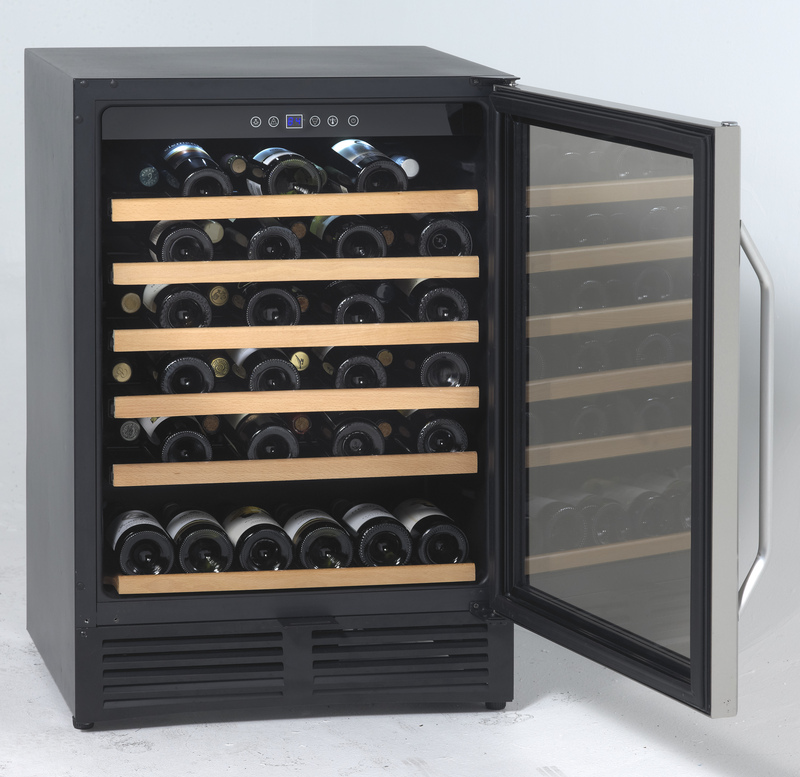 50 Bottle Wine Chiller  Black Cabinet with Glass Door and Stainless Finish Frame and Handle