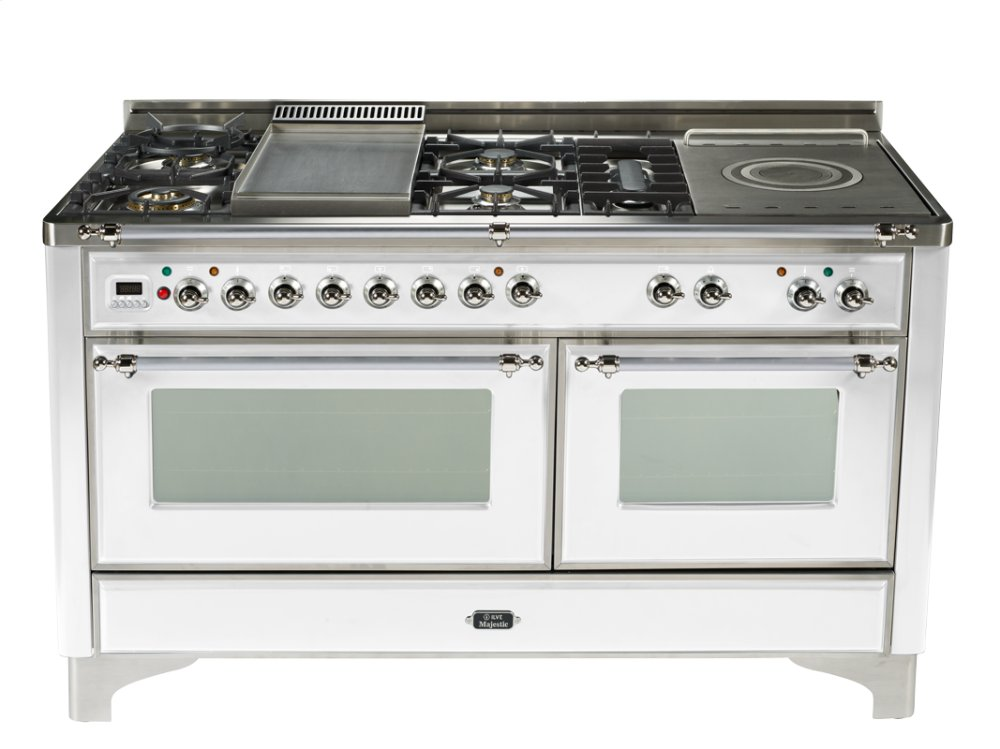 True White with Chrome trim - Majestic 60-inch Range with French Cooktop  True White / Chrome