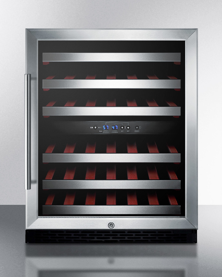 ADA Compliant Dual Zone Built-in Wine Cellar With Digital Thermostat, Stainless Steel Trimmed Shelves and Black Cabinet