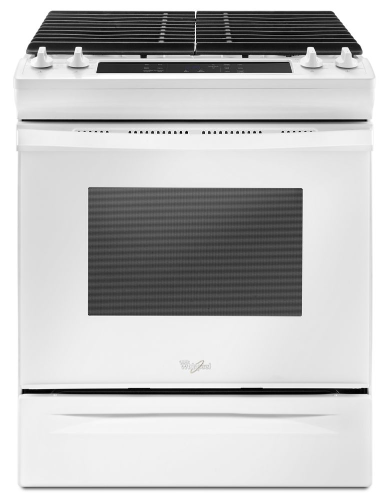 5.0 cu. ft. Front Control Gas Range with Cast-Iron Grates  White