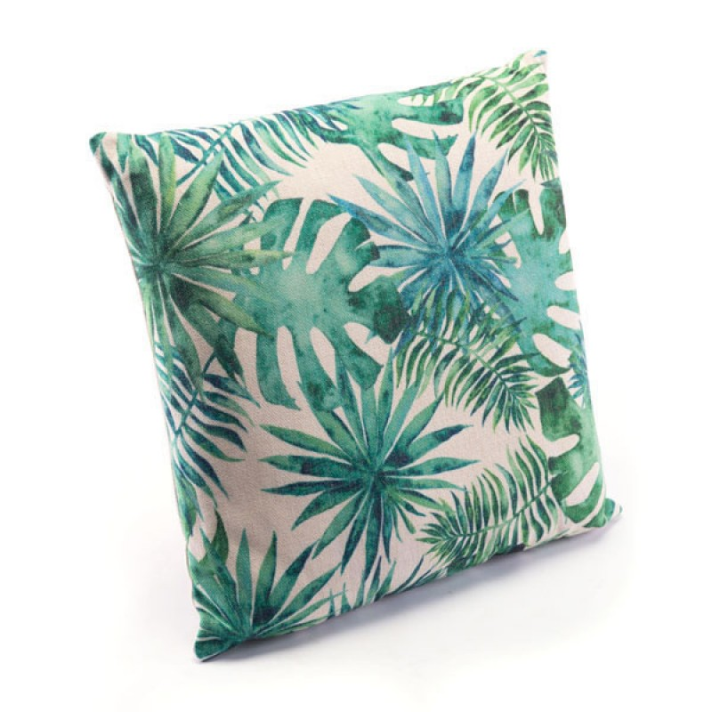 Tropical Green Pillow Green & White