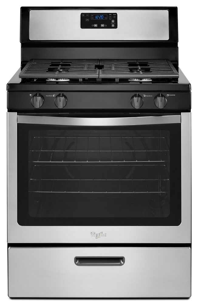 5.1 cu. ft. Freestanding Gas Range with Under-Oven Broiler  Black-on-Stainless