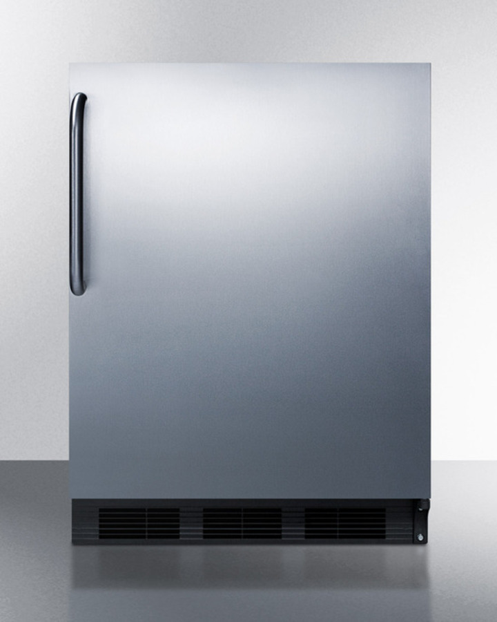 ADA Compliant Freestanding Refrigerator-freezer for Residential Use, Cycle Defrost With Deluxe Interior, Ss Wrapped Door, Towel Bar Handle, and Black Cabinet