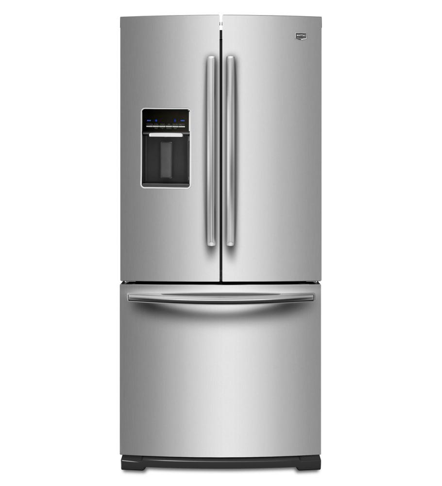 Mfw2055yem maytag monochromatic stainless steel maytag r for 19 6 cu ft french door refrigerator
